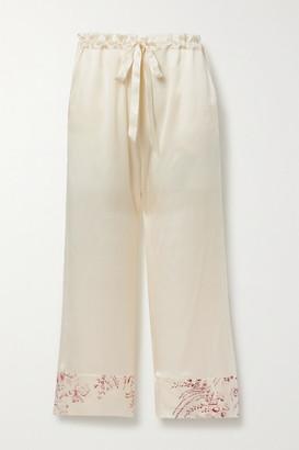 Carine Gilson Floral-print Silk-satin Pajama Pants - Cream
