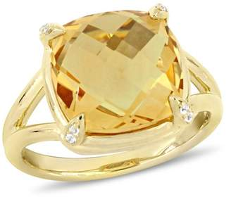 Tangelo 7 Carat T.G.W. Citrine and White Topaz Yellow-Plated Sterling Silver Cocktail Ring
