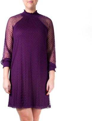 Nina Leonard Women's Sheer-Lace Trapeze Dress