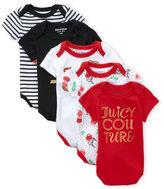 Juicy Couture Newborn Girls) 5-Pack Stripe Cherry Bodysuits