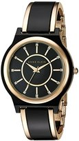 Anne Klein Women's AK/2344BKGB Swarovski Crystal Accented Gold-Tone and Black Bangle Watch