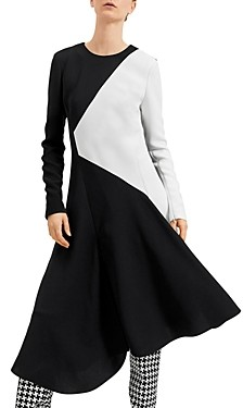 Barbara Bui Asymmetric Color-Blocked Midi Dress