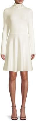 Eliza J Beaded Mock Neck Fit--Flare Dress