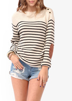 Forever 21 Striped Elbow Patch Sweater