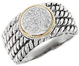 Effy Balissima Sterling Silver with 18Kt Yellow Gold Pave Circle Diamond Ring