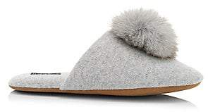 Minnie Rose Women's Fox Fur Pom-Pom Cashmere Slippers
