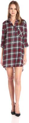 En Creme Women's Boyfriend Plaid Shirt Dress