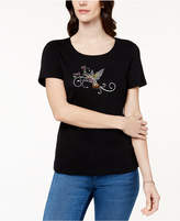 Karen Scott Petite Cotton Embellished Hummingbird-Graphic Top, Created for Macy's
