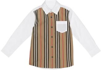 BURBERRY KIDS Icon Stripe stretch-cotton shirt