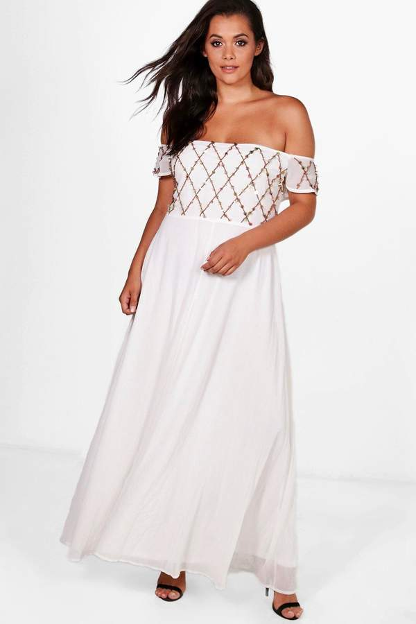 boohoo Plus Embellished Cold Shoulder Maxi Dress