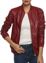ACEVOG Women's Quilted Biker Bomber Zipper Faux Leather Moto Coat Jacket ( L)