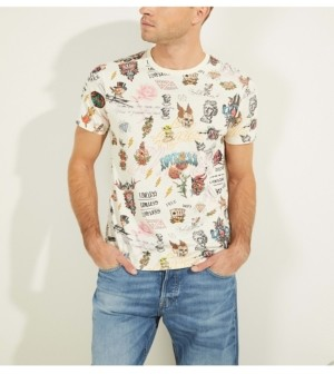 GUESS Tattoo Doodles Graphic Tee