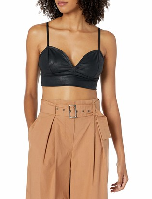 The Drop Women's Cristina Fitted Leather Look Bra Top