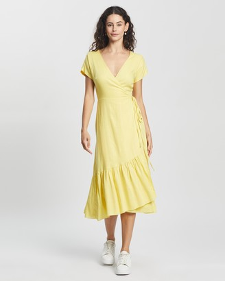 Atmos & Here Atmos&Here - Women's Yellow Midi Dresses - Angelica Midi Dress - Size 8 at The Iconic