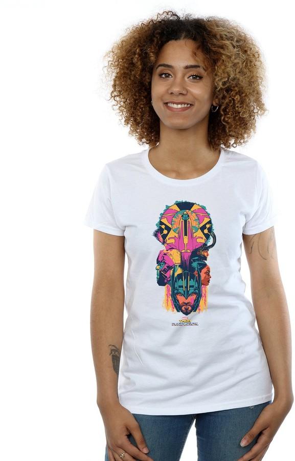 Marvel Women's Thor Ragnarok Character Totem T-Shirt Large White