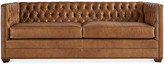 Michael Thomas Collection Ames Sofa - Cafe Crypton Leather - frame, walnut; upholstery, cafe; nailheads, brass