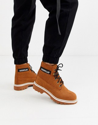 CAT Footwear CAT lyric corduroy suede lace up boots in rust