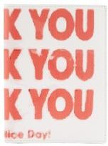 Raf Simons Thank You-print Bi-fold Leather Wallet