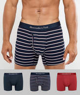 Abercrombie & Fitch 3 Pack Trunks Multi Pattern In Red Dots/Navy/Navy Stripe