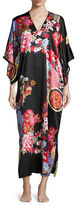 Natori Mikado Floral-Print Lounge Caftan, Black/Russian Red, Plus Size