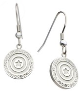 Marvel Women's Captain America Shield Stainless Steel Dangle Earrings with Clear CZ