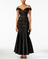 Xscape Evenings Petite Off-The-Shoulder Ruched Mermaid Gown