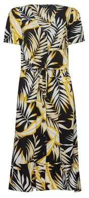 Dorothy Perkins Womens Yellow And Black Tropical Print Midi Shirt Dress, Black