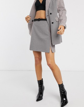 Fashion Union skirt in mixed check co-ord