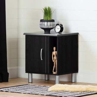 South Shore Cosmos Nightstand with Magazine Storage, Charcoal and Black Onyx