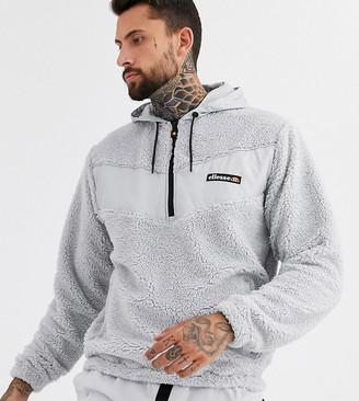 Ellesse Salsin 1/4 zip fleece hoodie in gray exclusive at ASOS