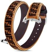 Fendi Selleria Velvet & Leather Wrap Watch Strap, 14mm