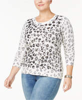 INC International Concepts Plus Size Sequined Animal-Print Sweater, Created for Macy's