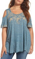 Lucky Brand Plus Size Women's Embroidered Cold Shoulder Top