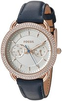 Fossil Women's Quartz Stainless Steel and Leather Automatic Watch, Color:Blue (Model: ES4052)