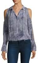 Ramy Brook Hazel Printed Cold-Shoulder Silk Blouse