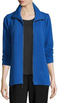 Caroline Rose Diamond-Quilted Zip-Front Jacket, Royal, Plus Size