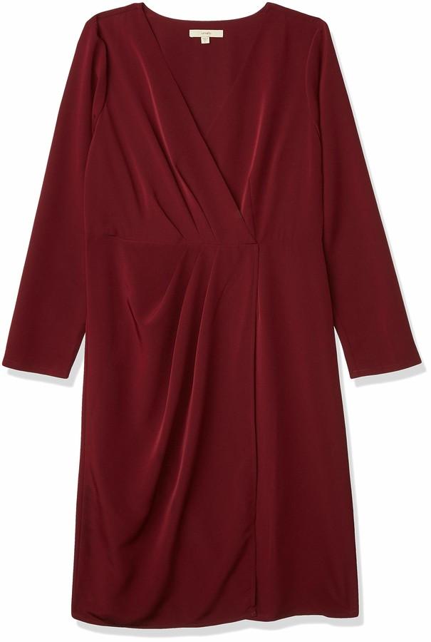Lark & Ro Women's Long Sleeve Satin Soft Pleated Deep V-Neck Dress