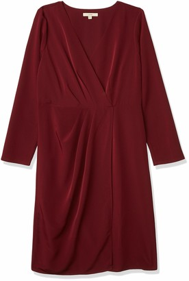 Lark & Ro Women's Long Sleeve Satin Soft Pleated Deep V-Neck Dress