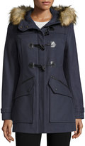 Andrew Marc Cara Faux-Fur-Trim Toggle-Front Coat, Denim