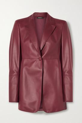 Akris Leather Blazer - Burgundy