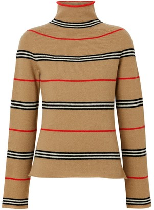 Burberry Icon Stripe Cashmere Turtleneck Sweater