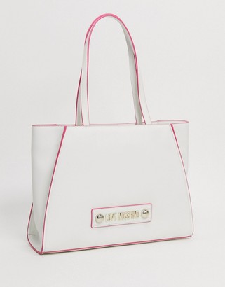 Love Moschino large tote with scarf tie in white