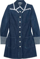 Miu Miu Broderie Anglaise-trimmed Denim Mini Dress - Mid denim