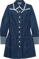 Miu Miu Broderie Anglaise-trimmed Denim Mini Dress