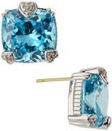 Judith Ripka Fontaine Cushion-Cut Crystal Button Earrings