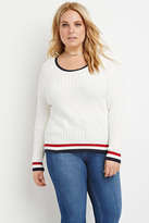 Forever 21 Plus Size Varsity-Stripe Ribbed Sweater