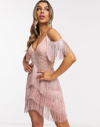 I SAW IT FIRST lace fringe cold shoulder crochet dress