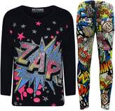 "A2Z 4 Kids® New Girls "" ZAP "" Print Party Fashion Top T Shirt & Comic Book Legging Set 7-13"