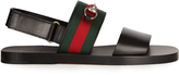 Gucci Web-trimmed leather sandals