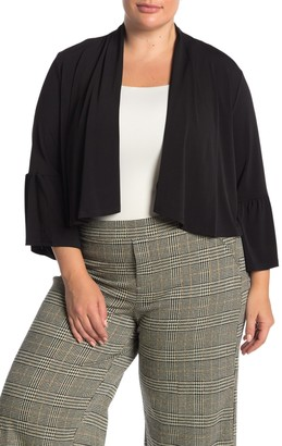 Nina Leonard Uneven Hem Draped Front 3/4 Sleeve Cardigan (Plus Size)